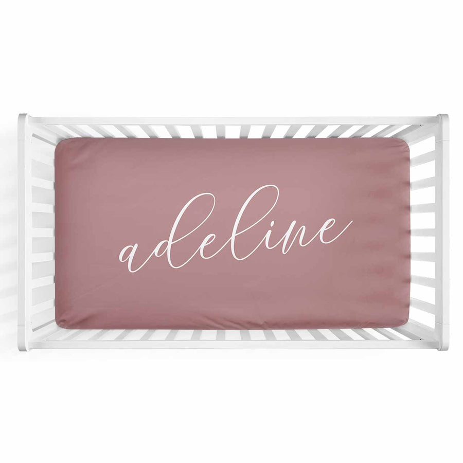 Personalized Baby Name Mauve Color Jersey Knit Crib Sheet in Swash Line Script Style
