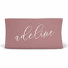 Personalized Dusty Rose Color Jersey Knit Changing Pad Cover in Script