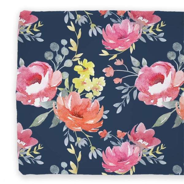 navy and bright pink floral changing pad cover