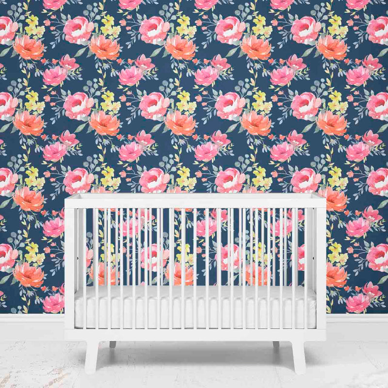 Navy Midnight Floral Removable Wallpaper