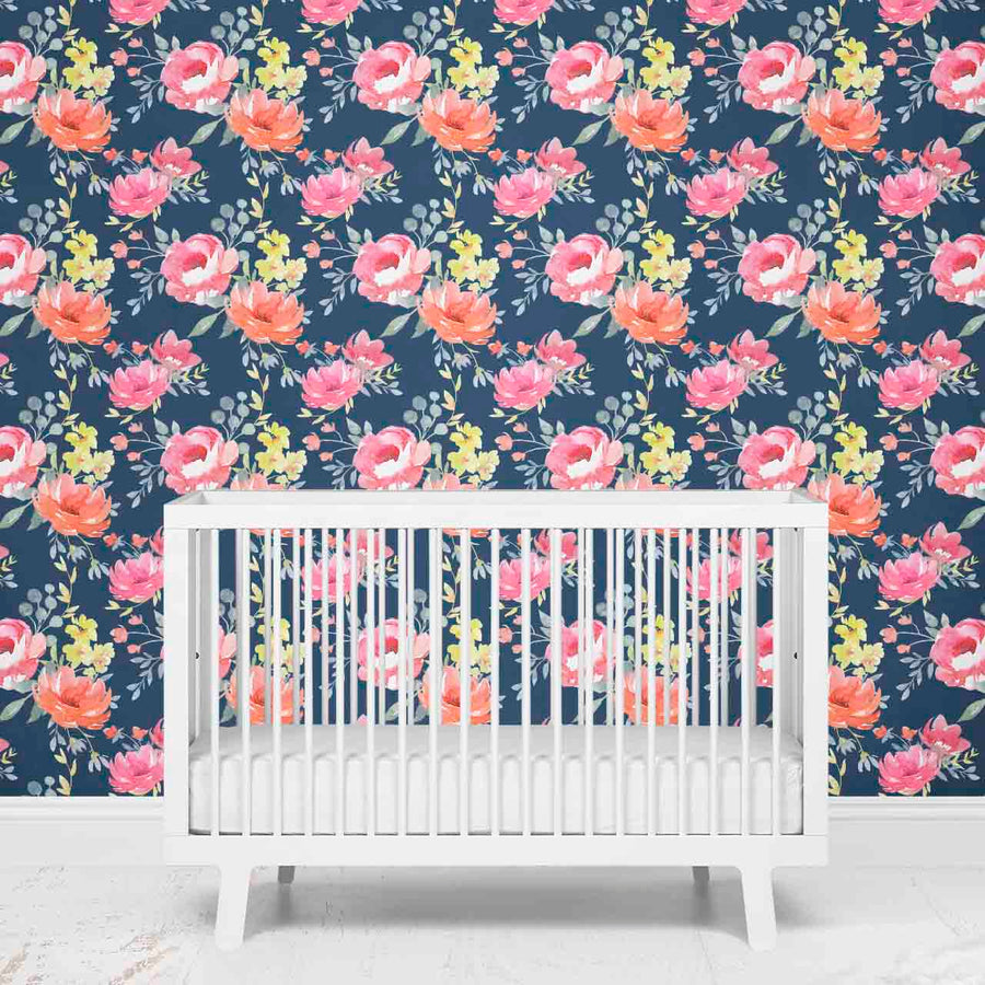 Navy Watercolor Floral Girl Nursery Removable Wallpaper