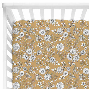 mila's mustard tiny white floral stretchy knit crib sheet