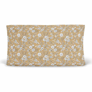 mila's mustard tiny white floral stretchy knit changing pad cover
