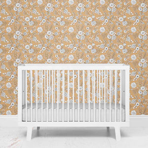 mila's mustard tiny white floral removable wallpaper