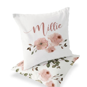 millie's dusty rose garden personalized throw pillow