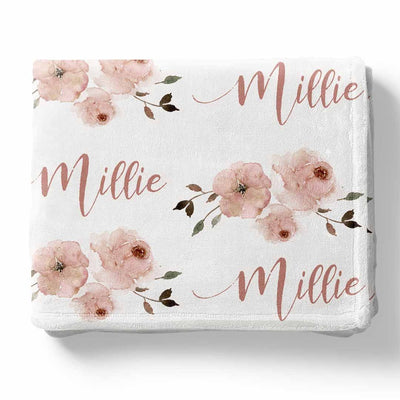 Millie's Dusty Rose Garden Personalized Toddler Blanket