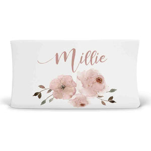 millie's dusty rose garden soft knit personalized changing pad cover