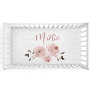 personalized crib sheet with blush flowers