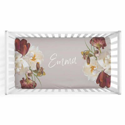 Emma's Taupe Dark Moody Floral Personalized Crib Sheet