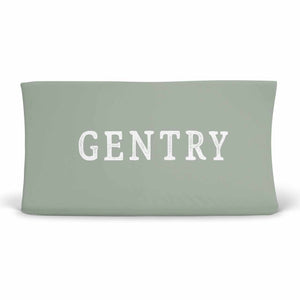 Personalized Sage Green Color Jersey Knit Changing Pad Cover in Script