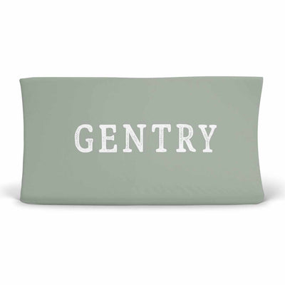 Personalized Sage Green Jersey Knit Changing Table Cover in Block Print