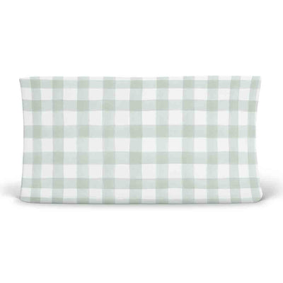 moss gingham stretchy knit changing pad cover