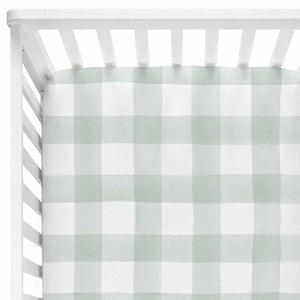moss gingham stretchy knit crib sheet