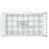 moss gingham soft knit personalized crib sheet
