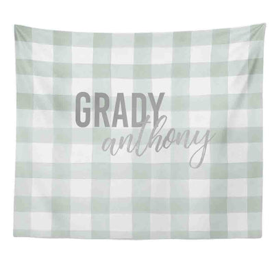 Moss Gingham Personalized Wall Tapestry
