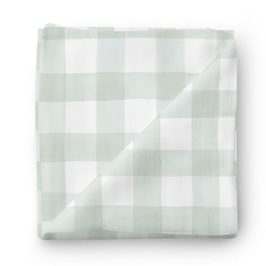 moss gingham swaddle green