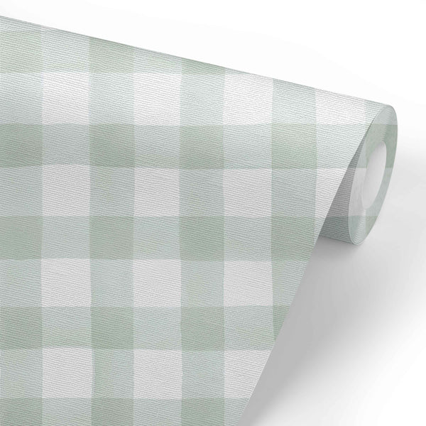Moss Gingham Removable Wallpaper