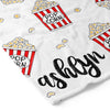 popcorn movie night personalized custom toddler kid blanket