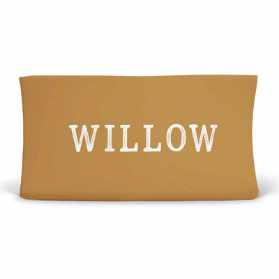 Personalized Mustard Yellow Color Jersey Knit Changing Pad Cover in Block Print