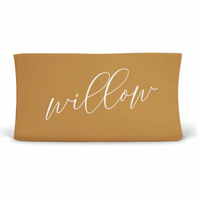 Personalized Mustard Yellow Color Jersey Knit Changing Pad Cover in Script