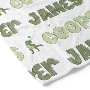 green dinosaur personalized custom toddler kid blanket