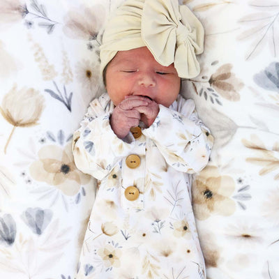 Navie's Neutral Floral Newborn Baby Knot Gown & Hat Set*