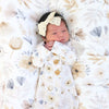 Navie's Neutral Floral Newborn Baby Knot Gown & Hat Set