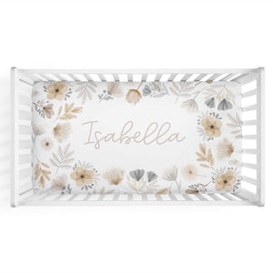 Navie's Neutral Floral Personalized Crib Sheet