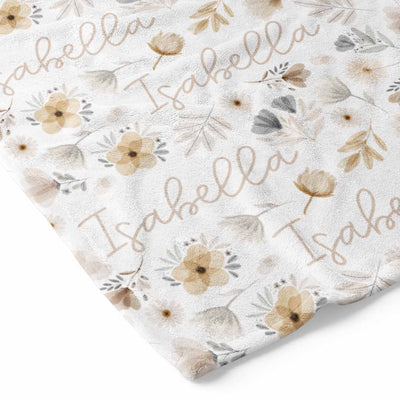 Navie's Neutral Floral Personalized Toddler Blanket