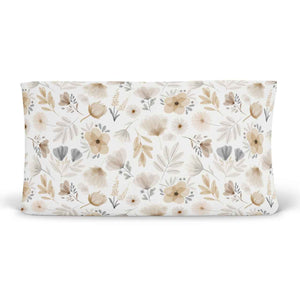 navie's neutral blush and mustard floral soft stretchy knit changing pad cover