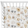 navie's neutral and mustard floral soft stretchy knit crib sheet