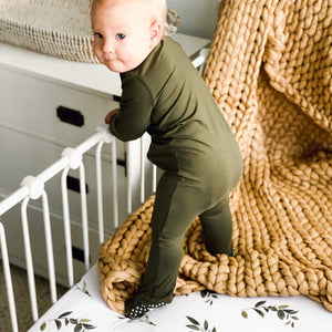 Solid Olive Bamboo Zipper Footie