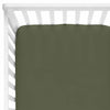 Solid Olive Knit Crib Sheet