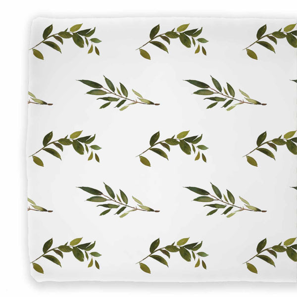Olive Green and White Two Sided Changing Pad Cover