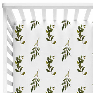 Olive Green and White Baby Bedding Crib Set