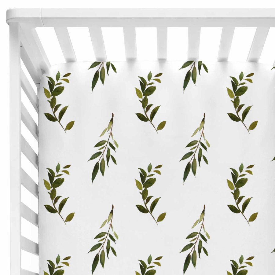 Green Olive Branch Fitted Crib Sheet