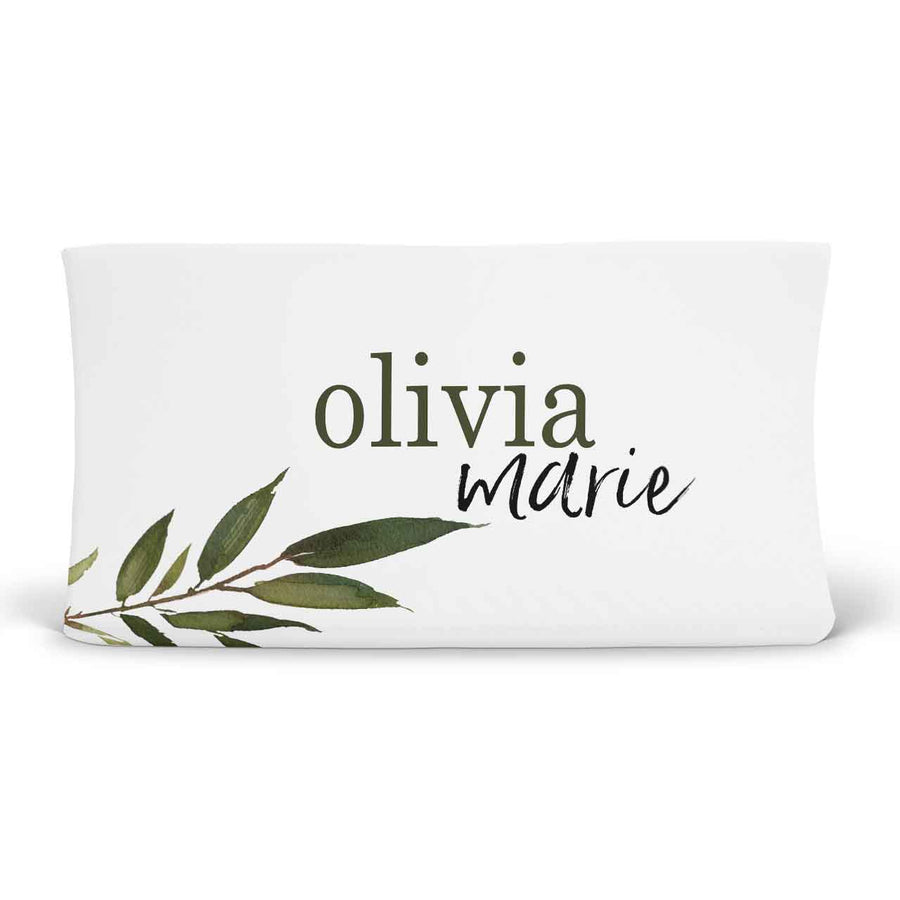 Olive Leaf Personalized Fitted Changing Pad Cover