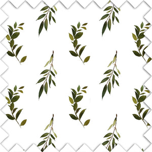 Olive Leaf Branch Fabric Swatch for the nursery