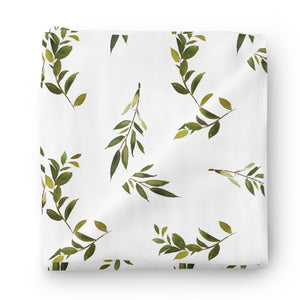 olive leaf neutral swaddle