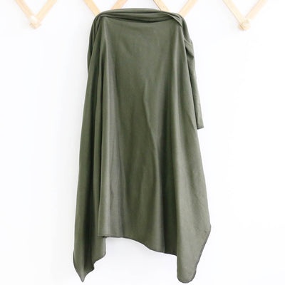 Solid Olive Green Knit Swaddle Blanket