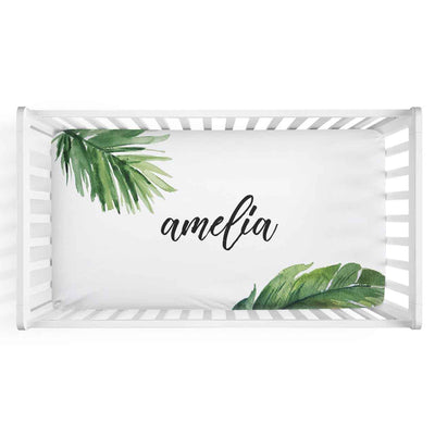 Forest Palm Personalized Fitted Crib Sheet