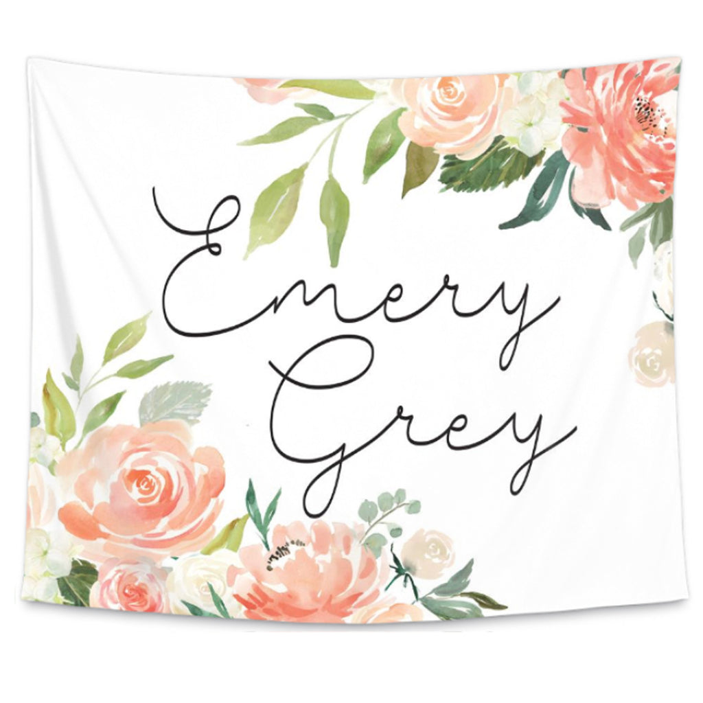 personalized name wall tapestry with peach watercolor flowers