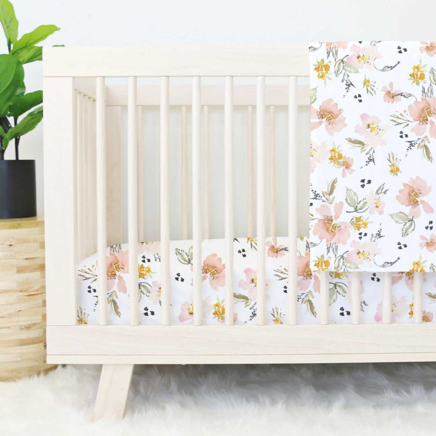 Penny's Mustard Blush and White Fitted Crib Sheet