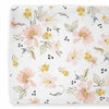 Mustard and Blush Floral Changing Table Cover