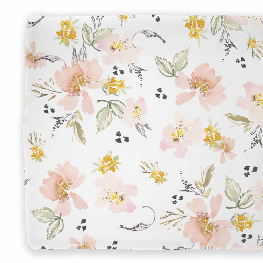 Penny's Mustard Blush and White Two Sided Changing Pad Cover