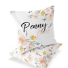 Penny's Mustard Blush and White Floral Custom Name Accent Throw Pillow