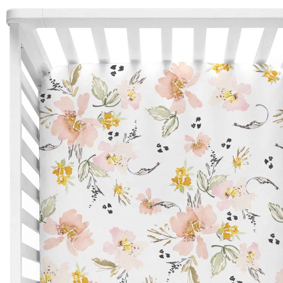 Penny's Mustard Watercolor Floral Crib Sheet