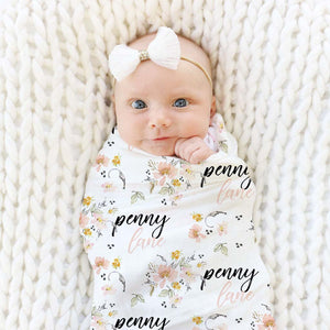 Penny's Mustard Blush and White Floral Custom Name Swaddle Blanket Wrap