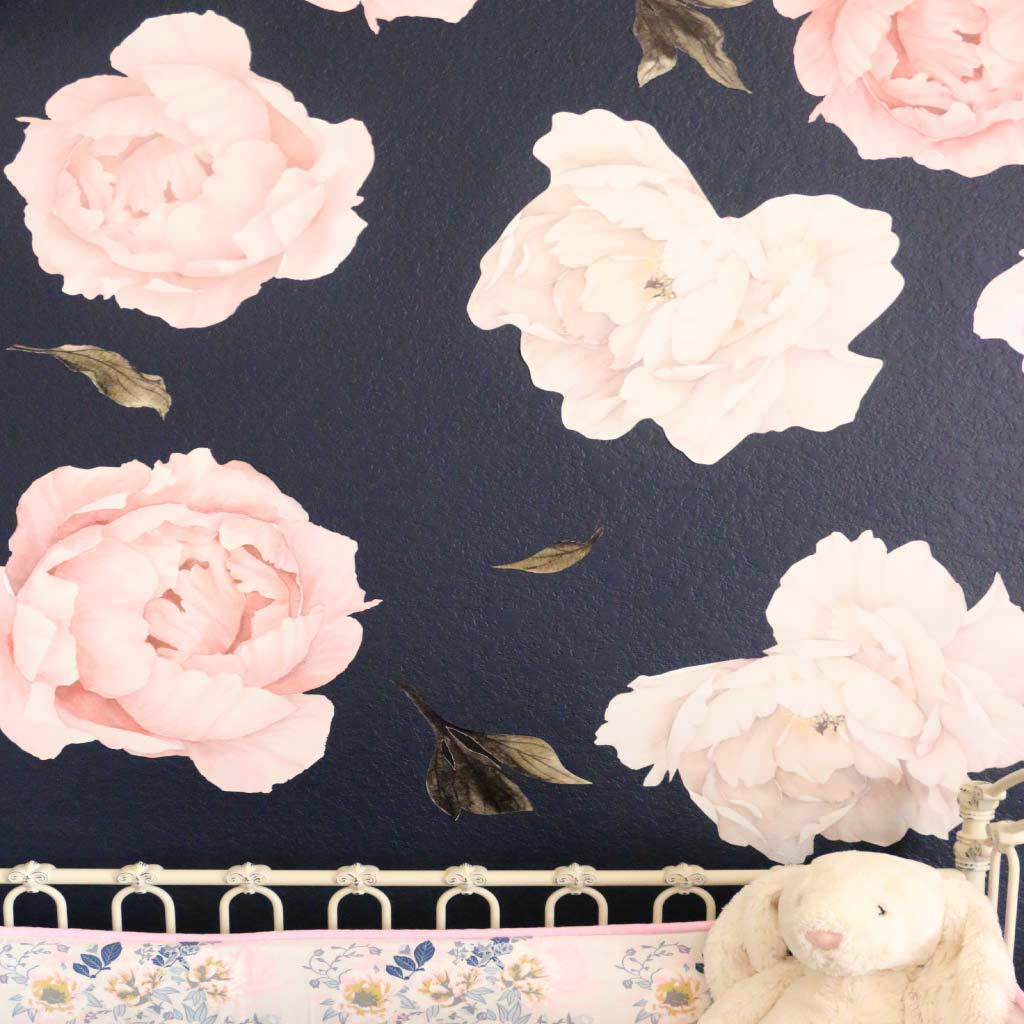 ... Peony Rose Floral Large Wall Decals For A Floral Nursery ... Part 79