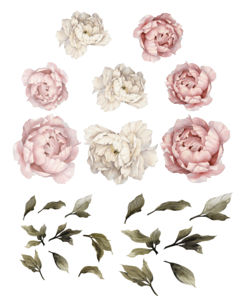 Large Pink Peony Wall Stickers With Leaves ... Part 90